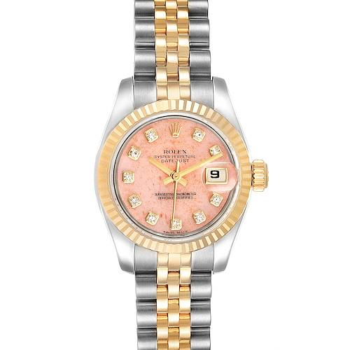 Photo of Rolex Datejust Steel Yellow Gold Pink Coral Diamond Dial Watch 179173 Box Papers