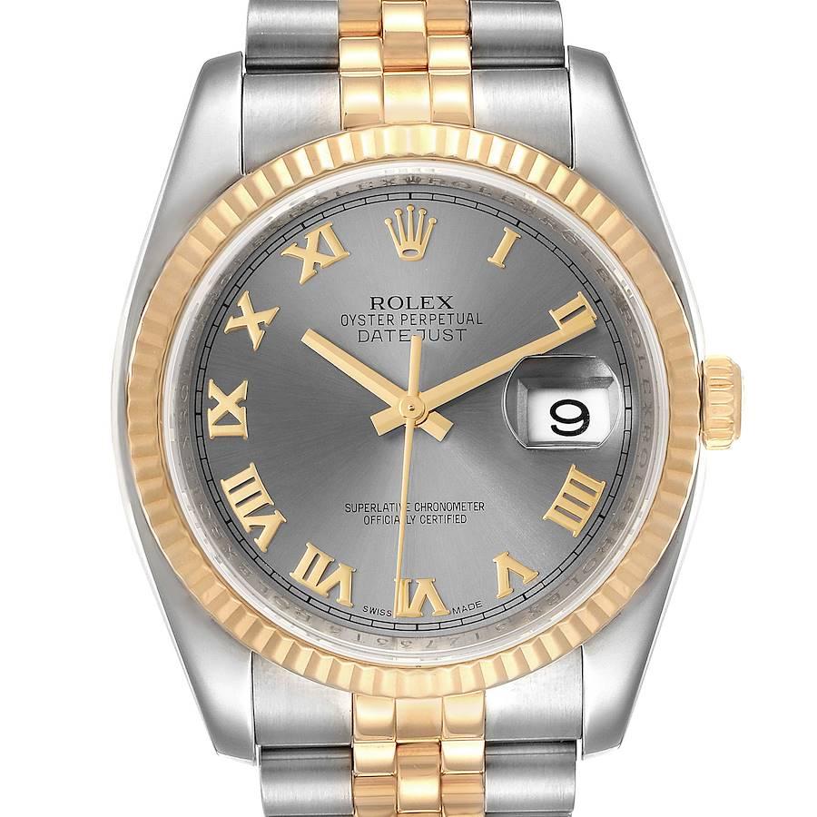 Rolex Datejust Steel Yellow Gold Slate Roman Dial Mens Watch 116233 SwissWatchExpo