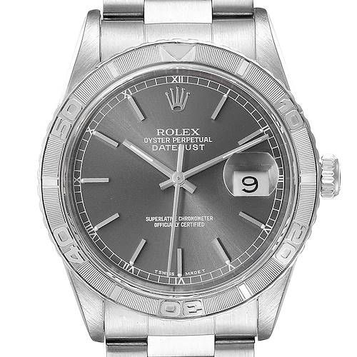 Photo of Rolex Turnograph Datejust Steel White Gold Grey Dial Mens Watch 16264