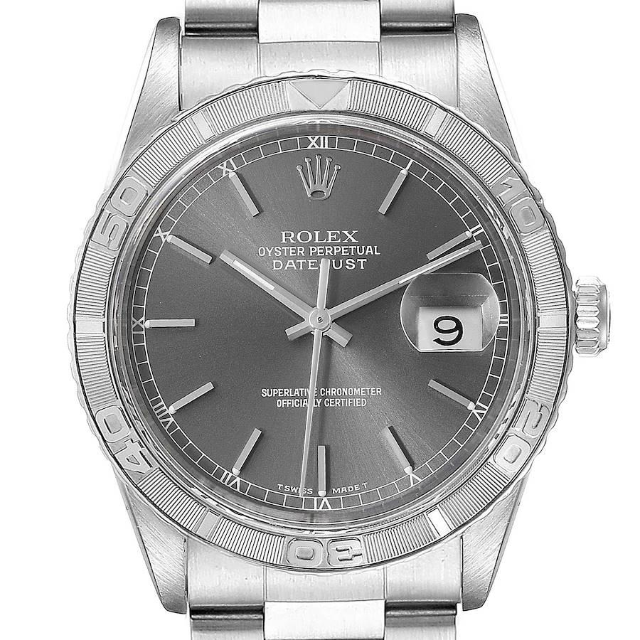 Rolex Turnograph Datejust Steel White Gold Grey Dial Mens Watch 16264 SwissWatchExpo
