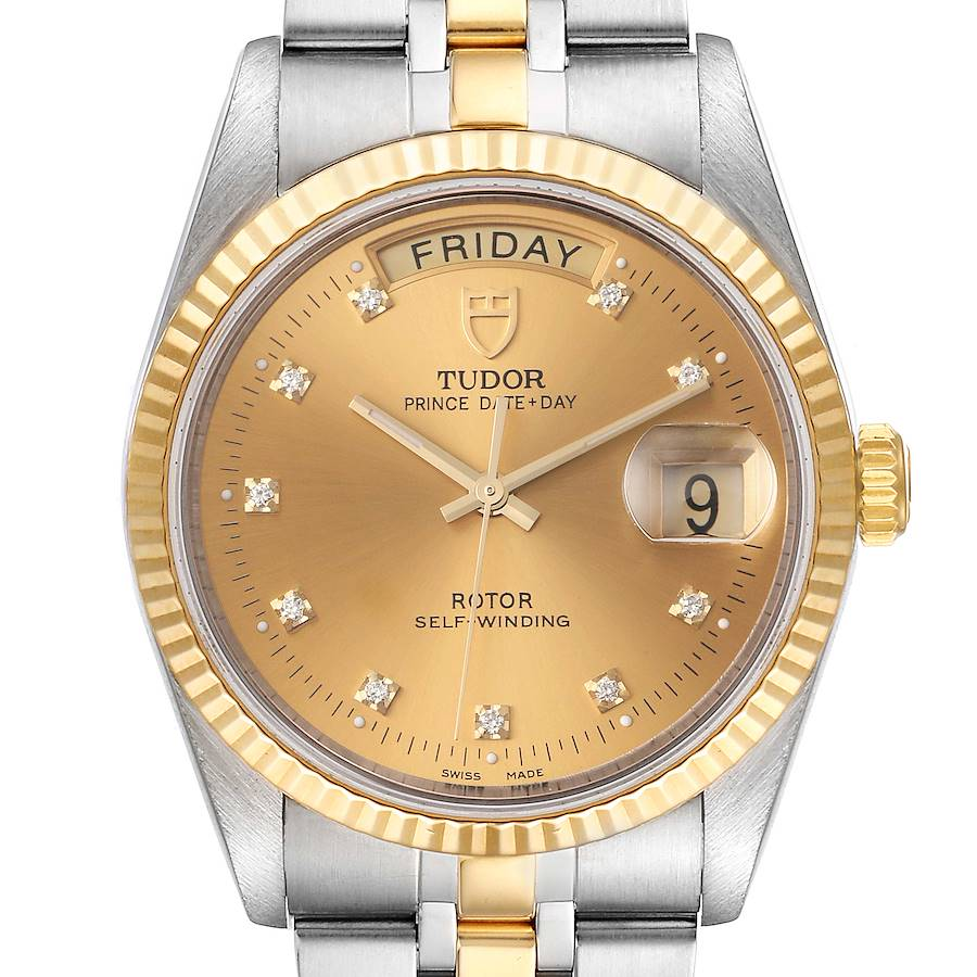 Tudor Day Date Steel Yellow Gold Champagne Diamond Dial Watch 76213 Unworn SwissWatchExpo