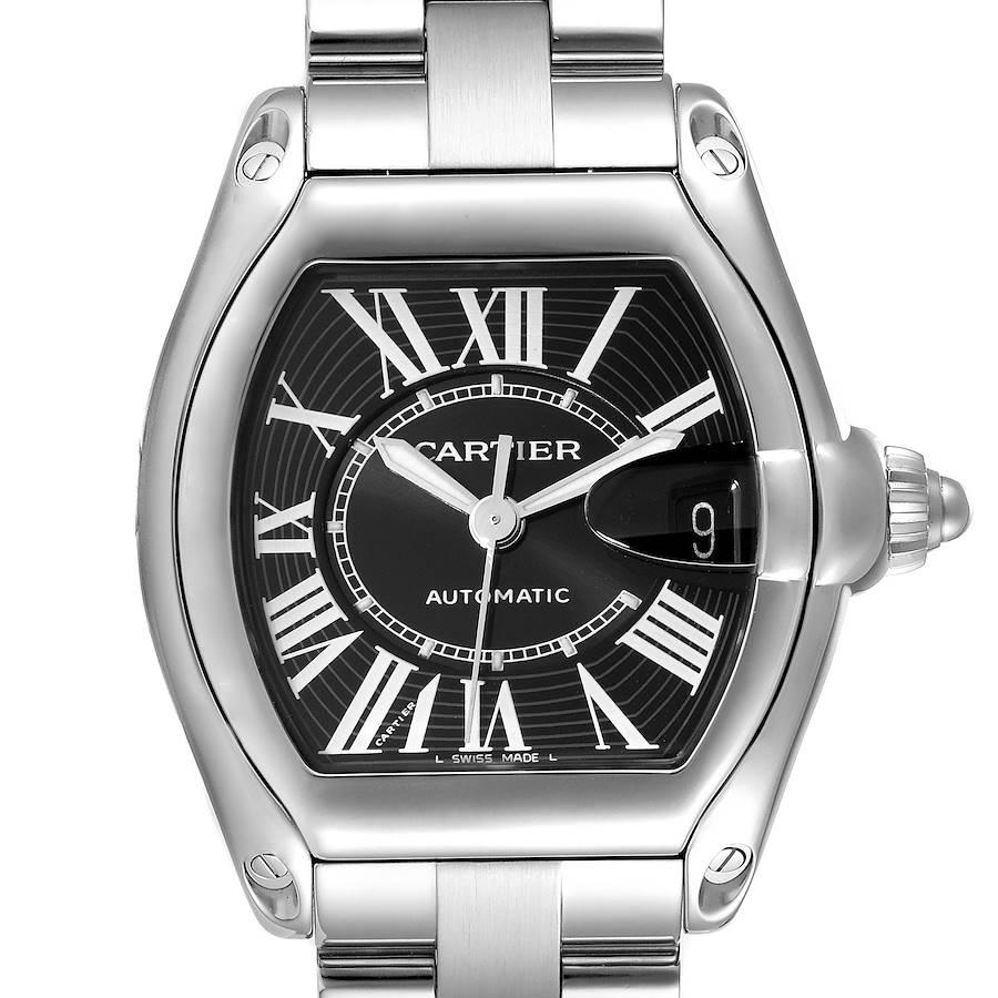 Cartier Roadster Black Dial Large Steel Mens Watch W62041V3 SwissWatchExpo