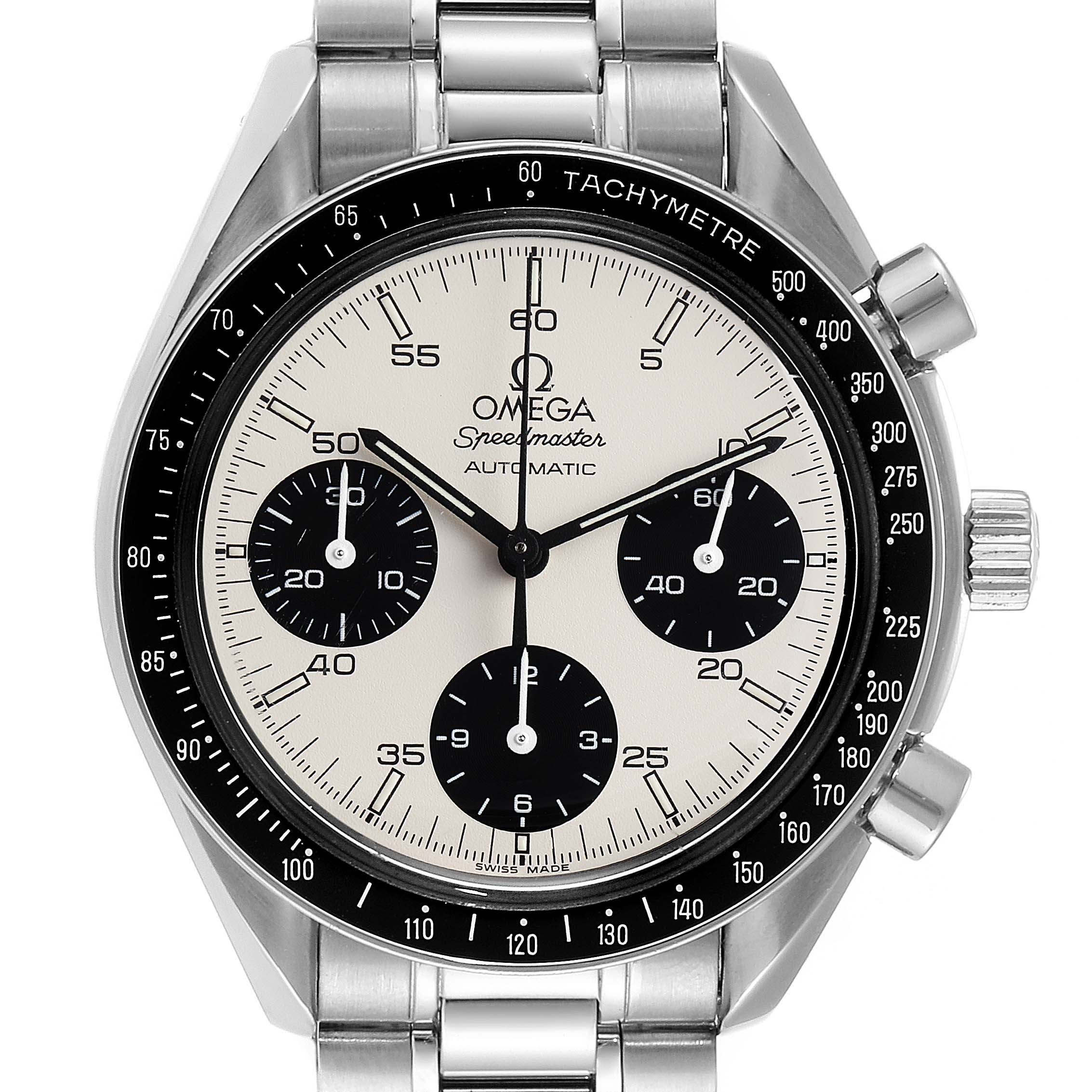 Omega Speedmaster Reduced Albino White Dial Mens Watch 3510.20.00 SwissWatchExpo
