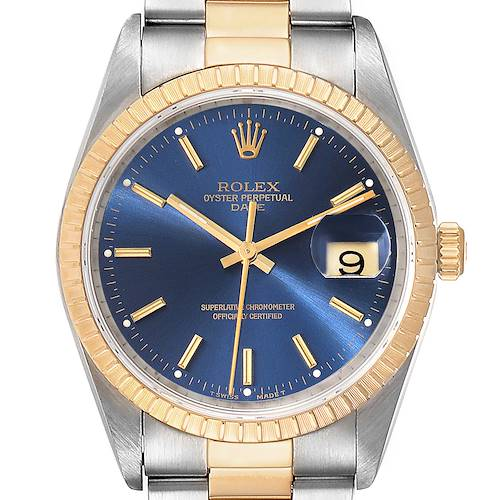 Photo of Rolex Date Steel Yellow Gold Blue Dial Oyster Bracelet Mens Watch 15223