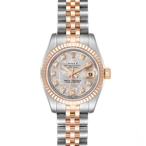Photo of Rolex Datejust Steel EveRose Gold Meteorite Diamond Ladies Watch 179171