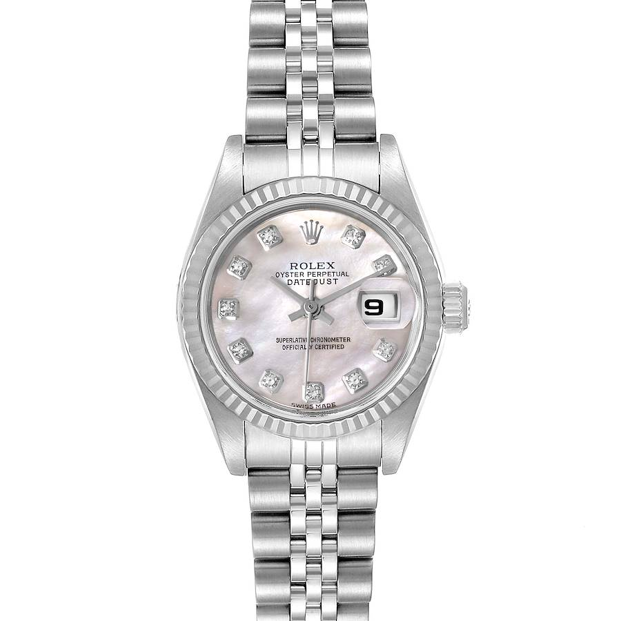 Rolex Datejust Steel White Gold MOP Diamond Ladies Watch 79174 Box Papers SwissWatchExpo