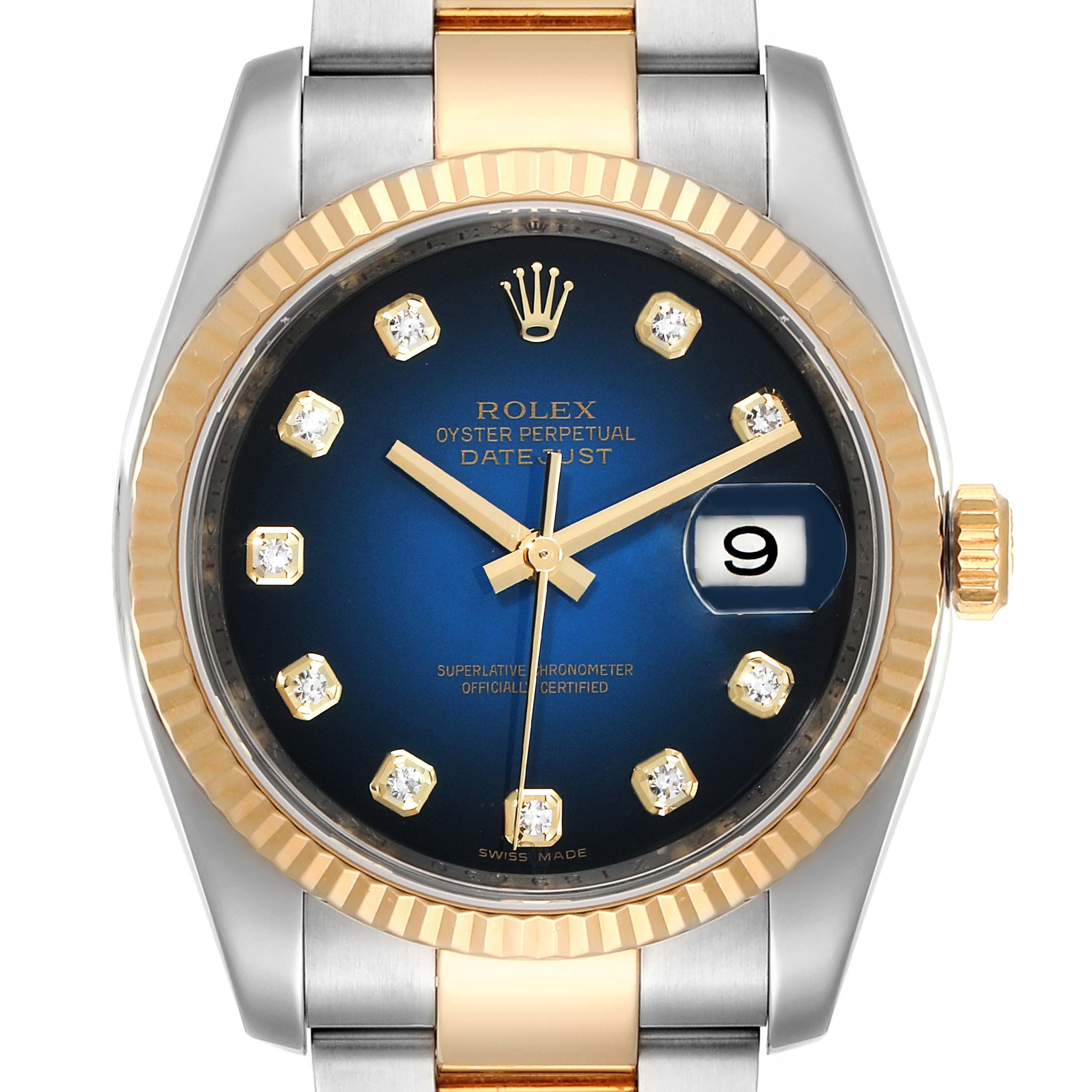 Photo of Rolex Datejust Steel Yellow Gold Blue Vignette Diamond Dial Watch 116233