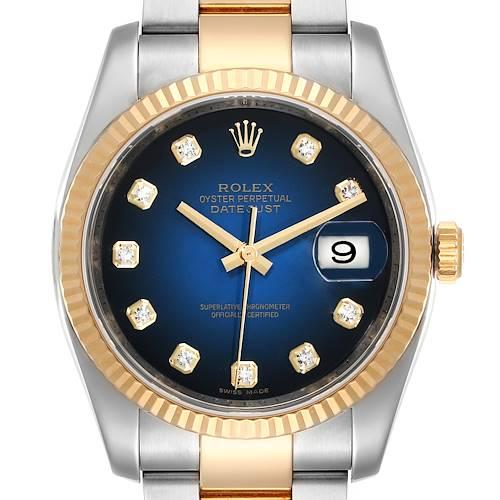 Photo of Rolex Datejust Steel Yellow Gold Blue Vignette Diamond Dial Watch 116233