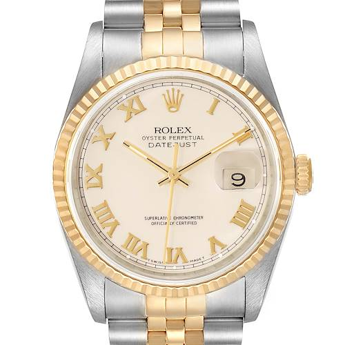 Photo of Rolex Datejust Steel Yellow Gold Ivory Roman Dial Mens Watch 16233 Box Papers