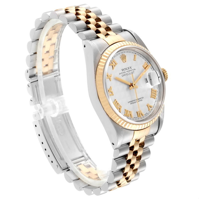Rolex Datejust Steel Yellow Gold Pyramid Roman Dial Mens Watch 16233 SwissWatchExpo