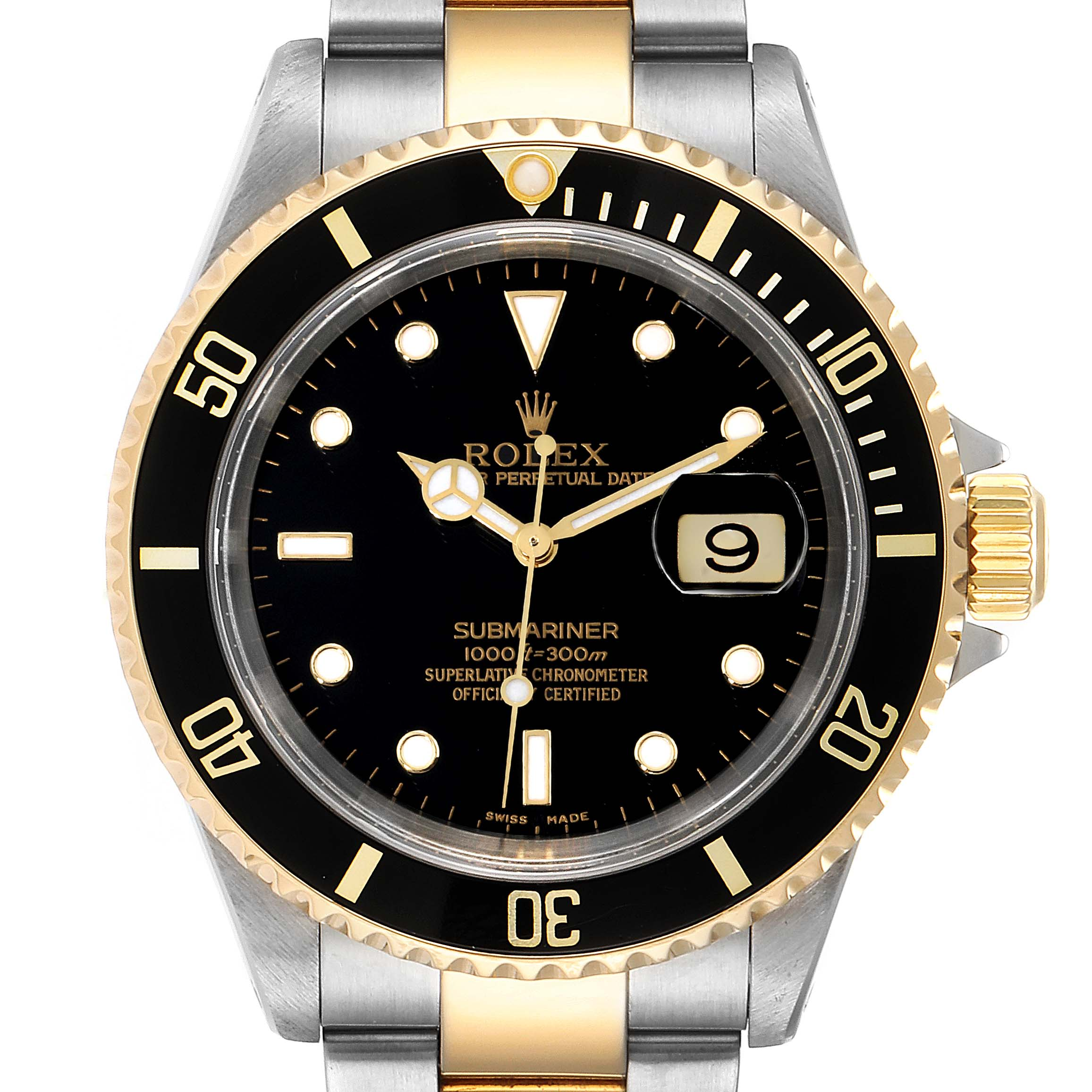 Photo of Rolex Submariner Black Dial Bezel Steel Yellow Gold Mens Watch 16613