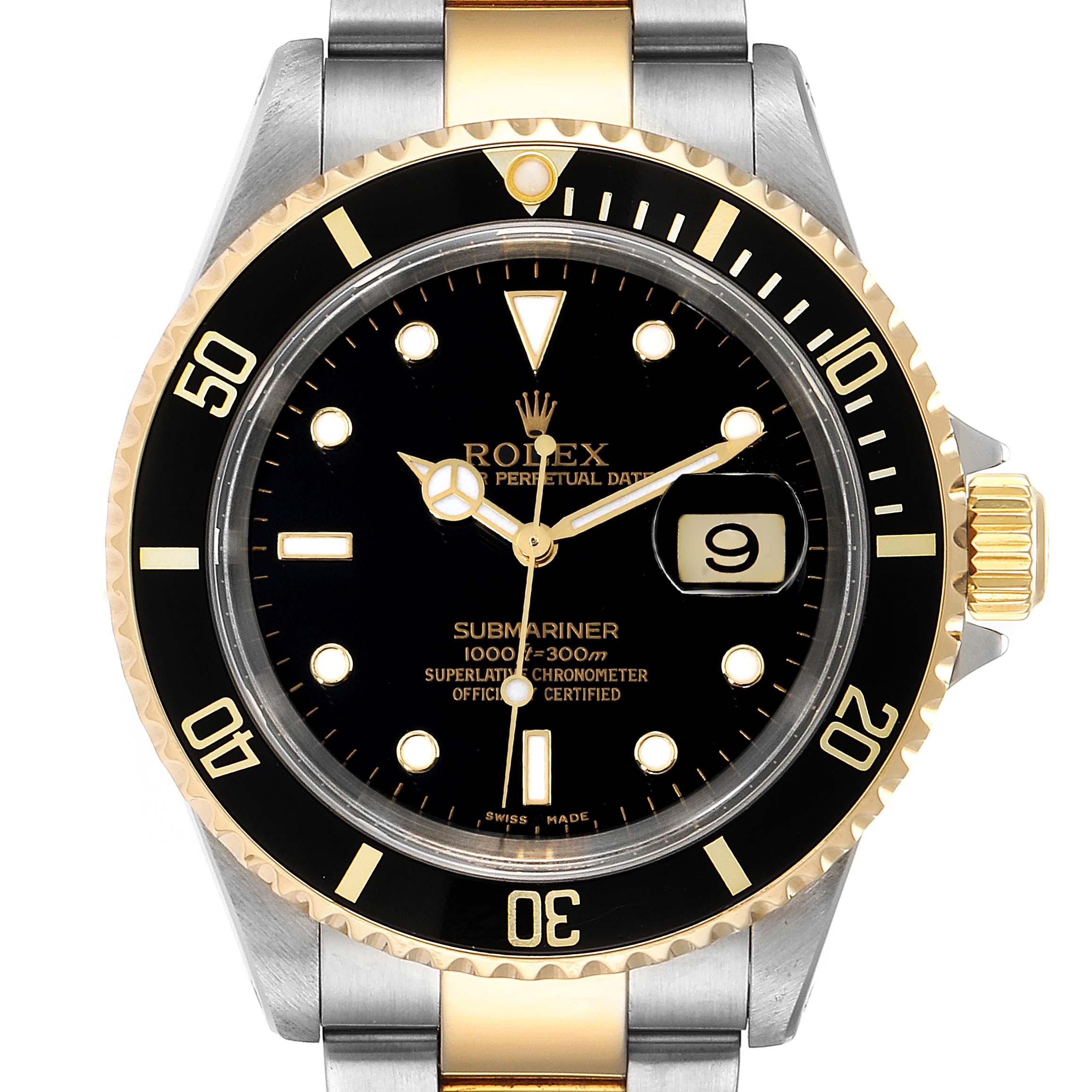 Photo of Rolex Submariner Black Dial Bezel Steel Yellow Gold Mens Watch 16613