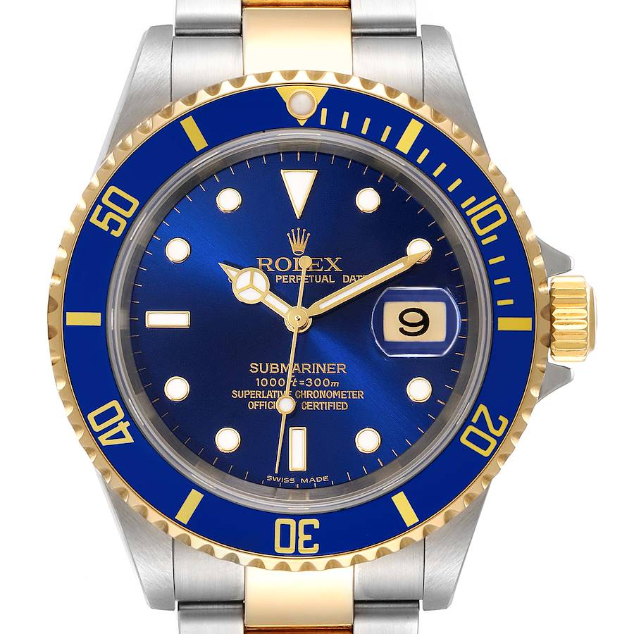 Rolex Submariner Blue Dial Steel Yellow Gold Mens Watch 16613 Box Papers SwissWatchExpo