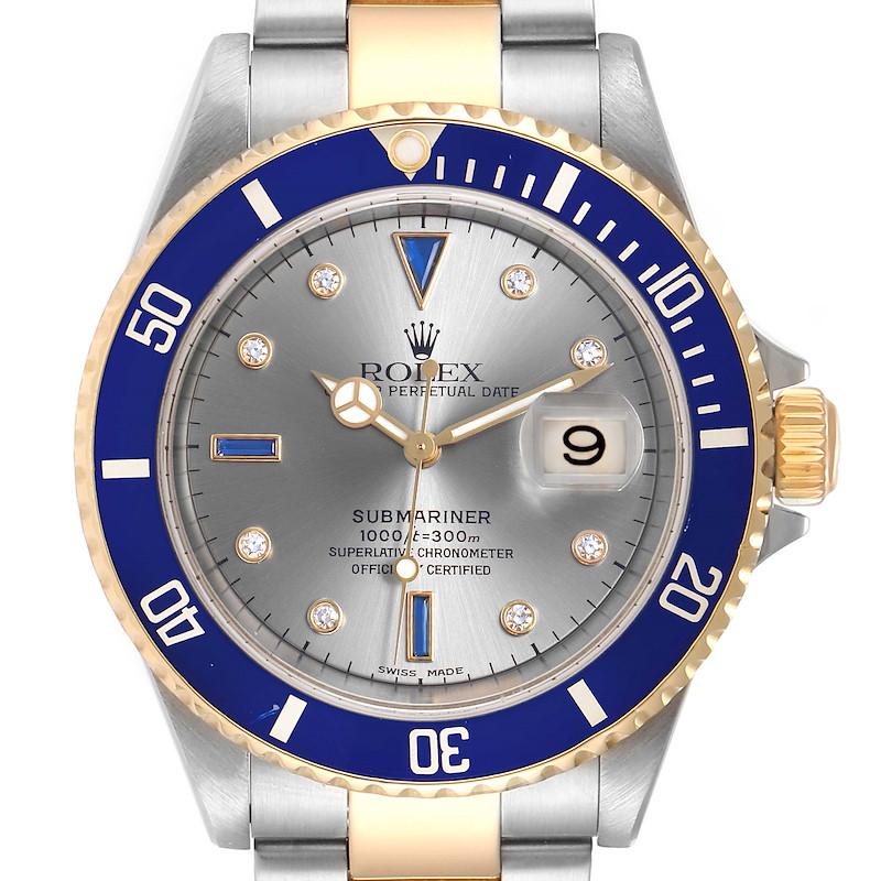 Rolex Submariner Steel Gold Diamond Sapphire Serti Dial Mens Watch 16613 SwissWatchExpo