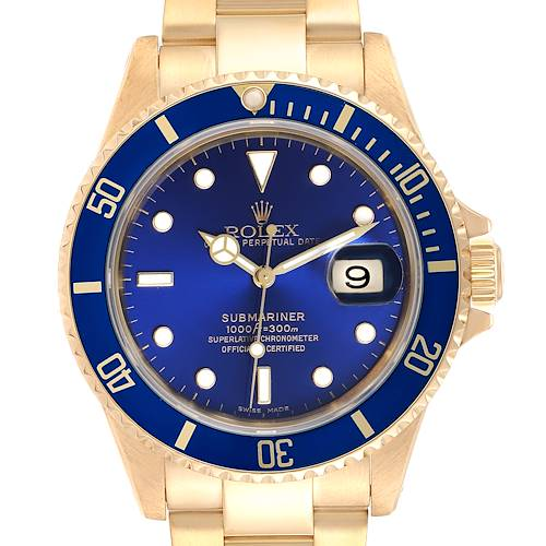 Photo of Rolex Submariner Yellow Gold Blue Dial 40mm Mens Watch 16618
