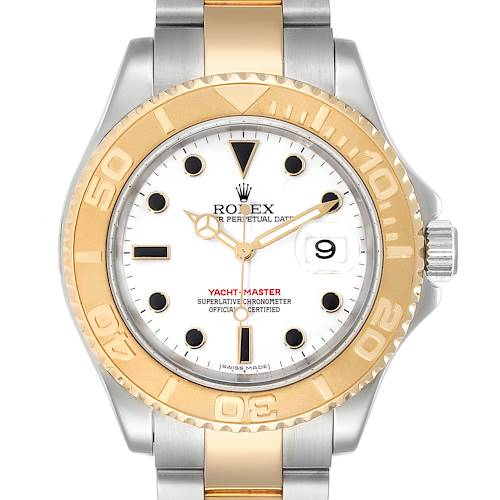 Photo of Rolex Yachtmaster White Dial Steel Yellow Gold Mens Watch 16623