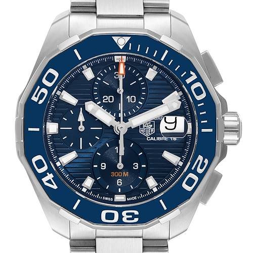 Photo of Tag Heuer Aquaracer Blue Dial Steel Mens Watch CAY211B Unworn