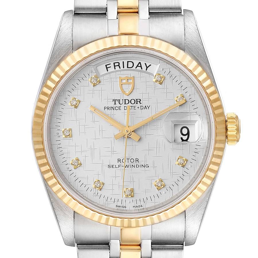 Tudor Day Date Linen Dial Steel Yellow Gold Diamond Watch 76213 Unworn SwissWatchExpo