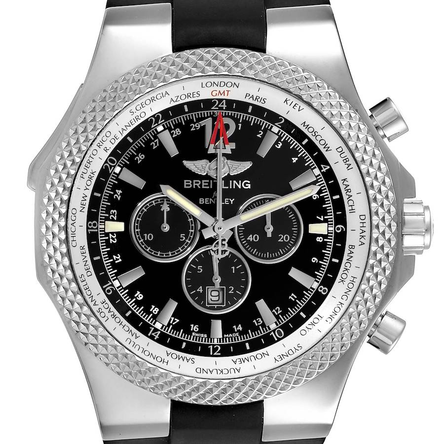 Breitling Bentley GMT Black Dial Steel Mens Watch A47362 Box Papers SwissWatchExpo