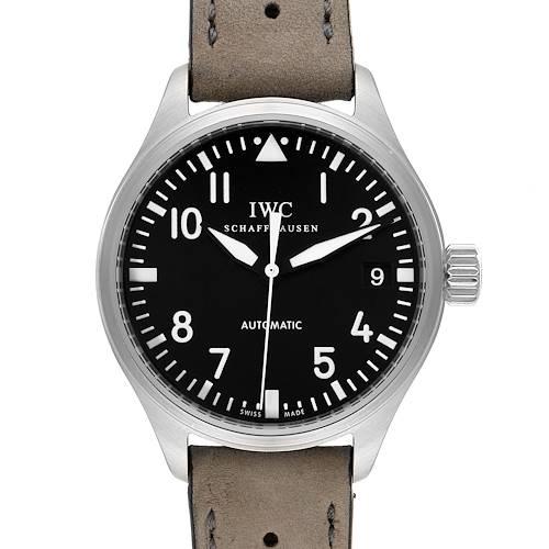 Photo of IWC Pilot 34mm Midsize Black Dial Grey Strap Steel Unisex Watch IW325601