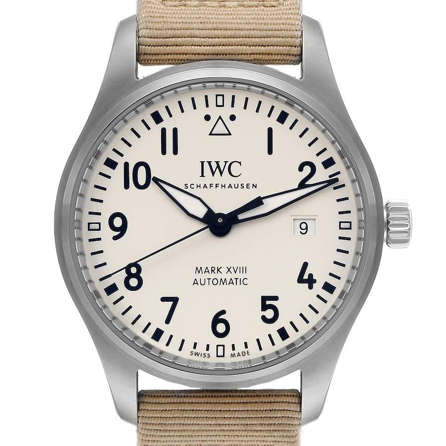 IWC Pilot Mark XVIII 40mm Silver Dial Steel Mens Watch IW327017 Box Card SwissWatchExpo