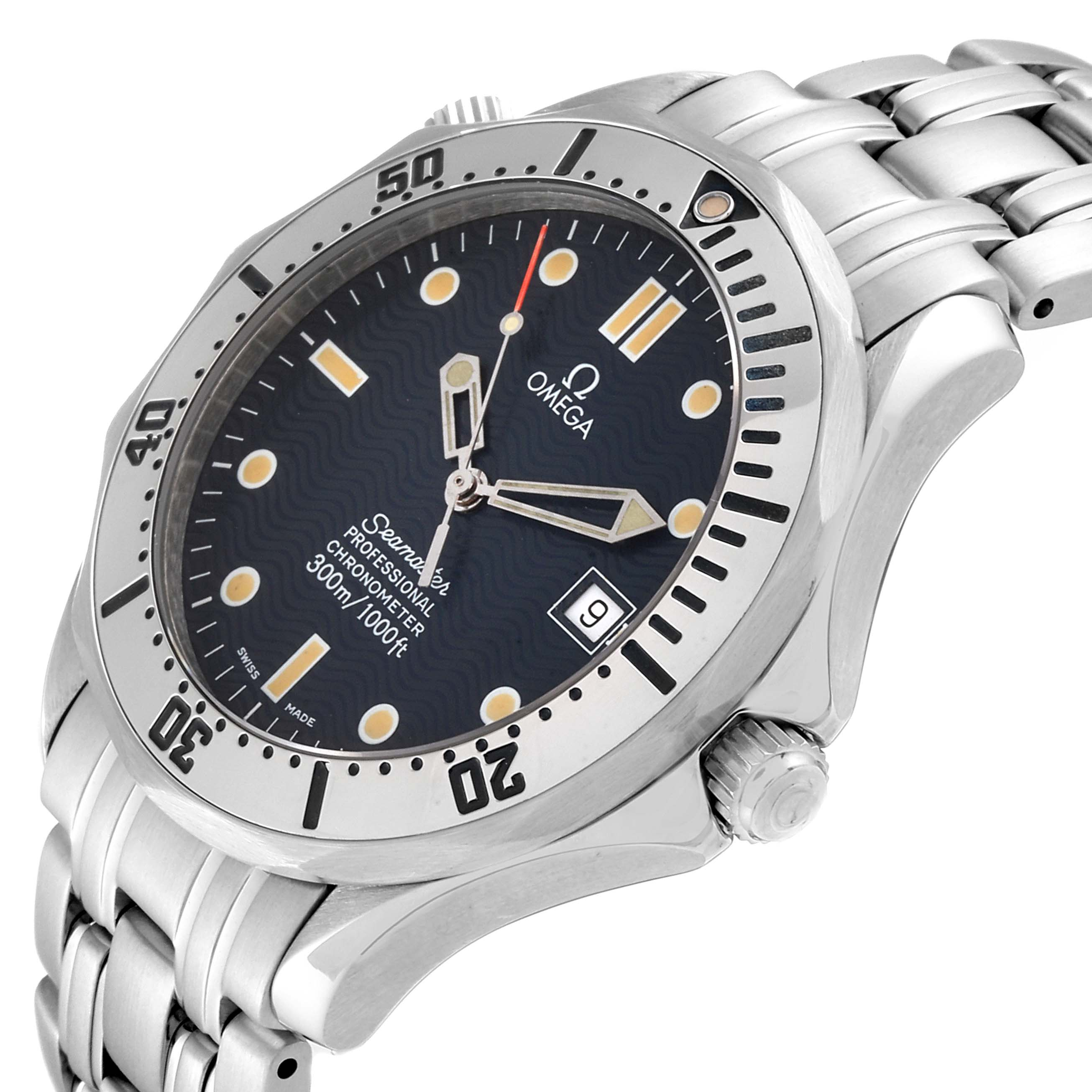 Omega Seamaster Blue Wave Decor Dial Steel 300m Watch 2532.80.00 SwissWatchExpo