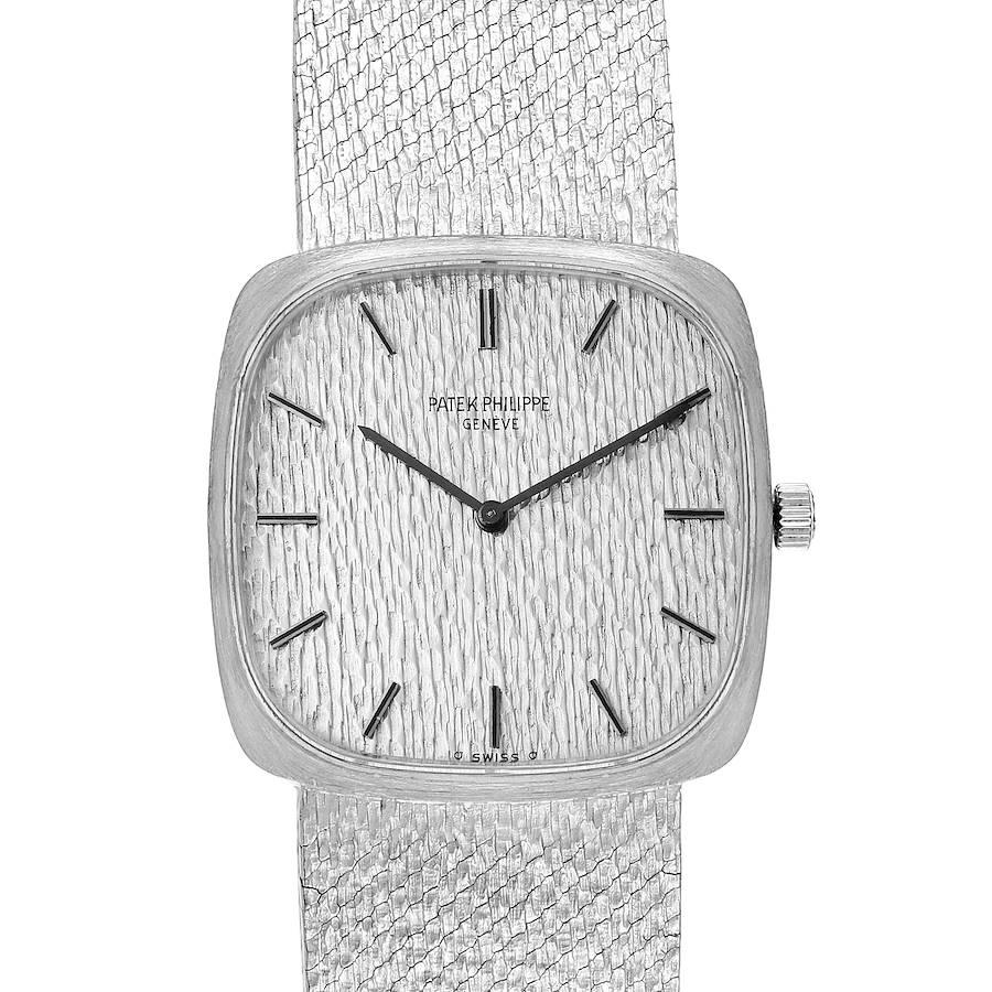 Patek Philippe 18k White Gold Silver Dial Vintage Mens Watch 3566 SwissWatchExpo