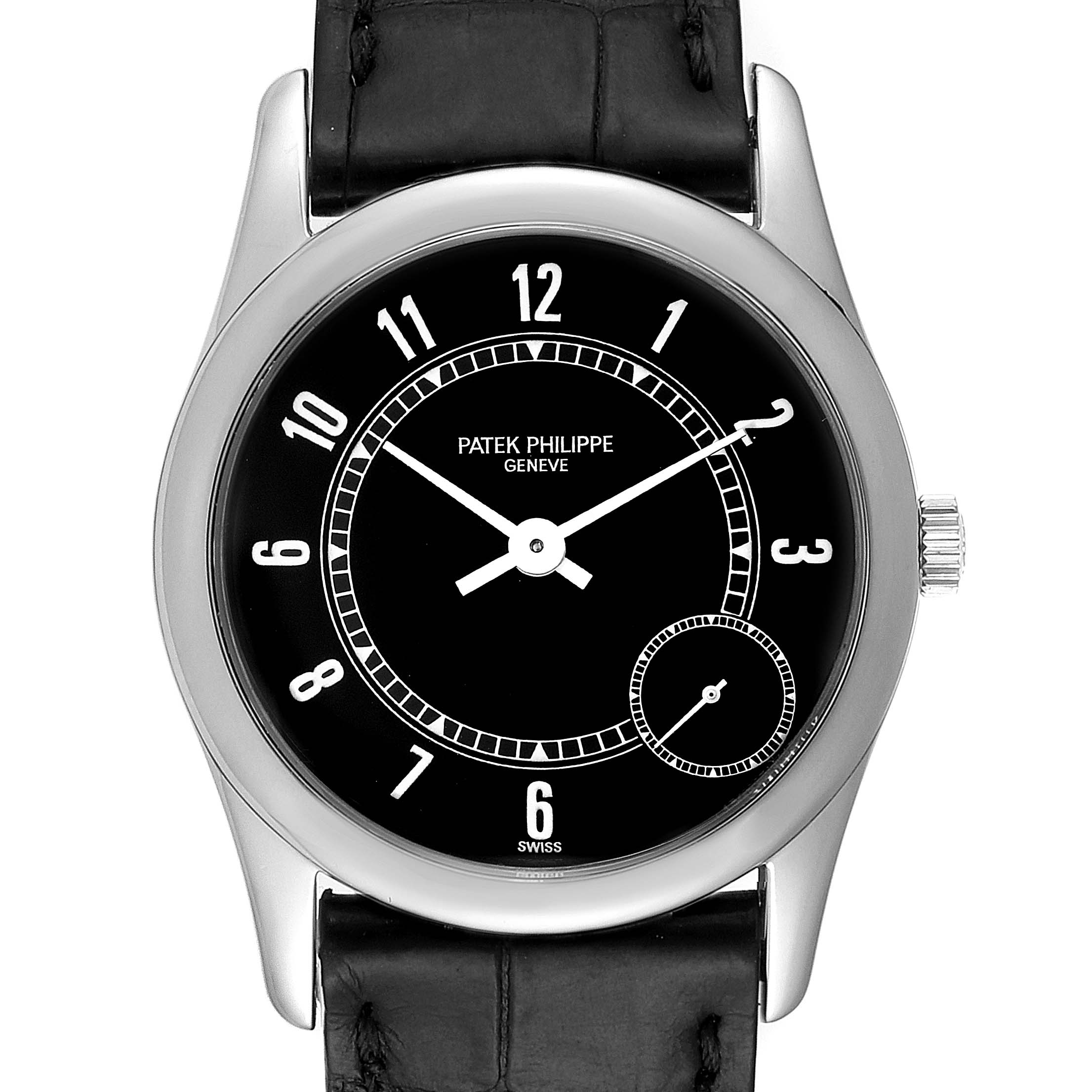 Photo of Patek Philippe Calatrava White Gold Black Dial Automatic Mens Watch 5000