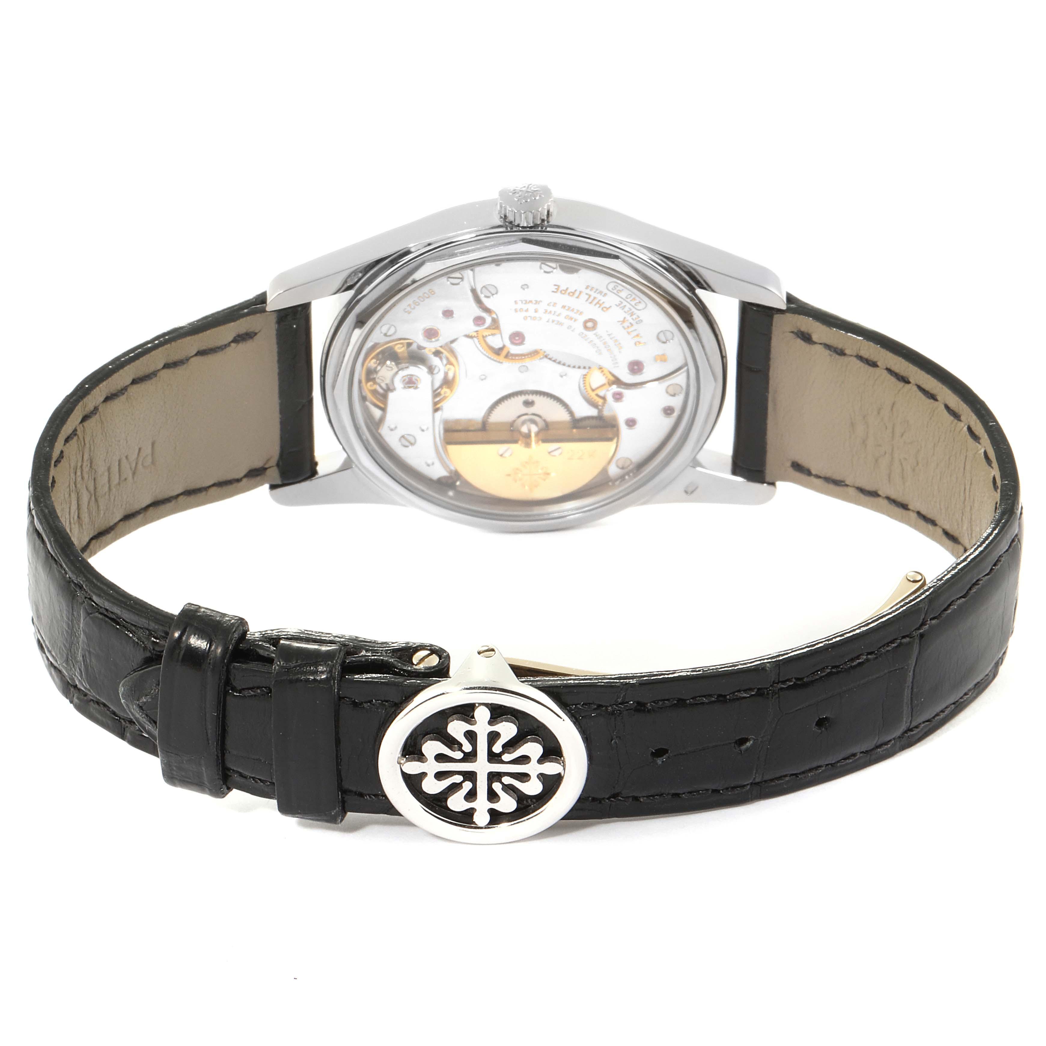 Patek Philippe Calatrava White Gold Black Dial Automatic Mens Watch 5000 SwissWatchExpo