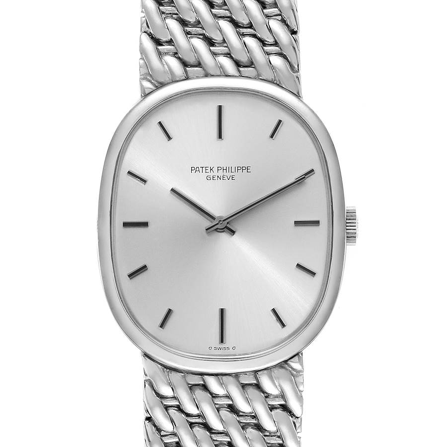 Patek Philippe Golden Ellipse 18k White Gold Silver Dial Mens Watch 3848 SwissWatchExpo