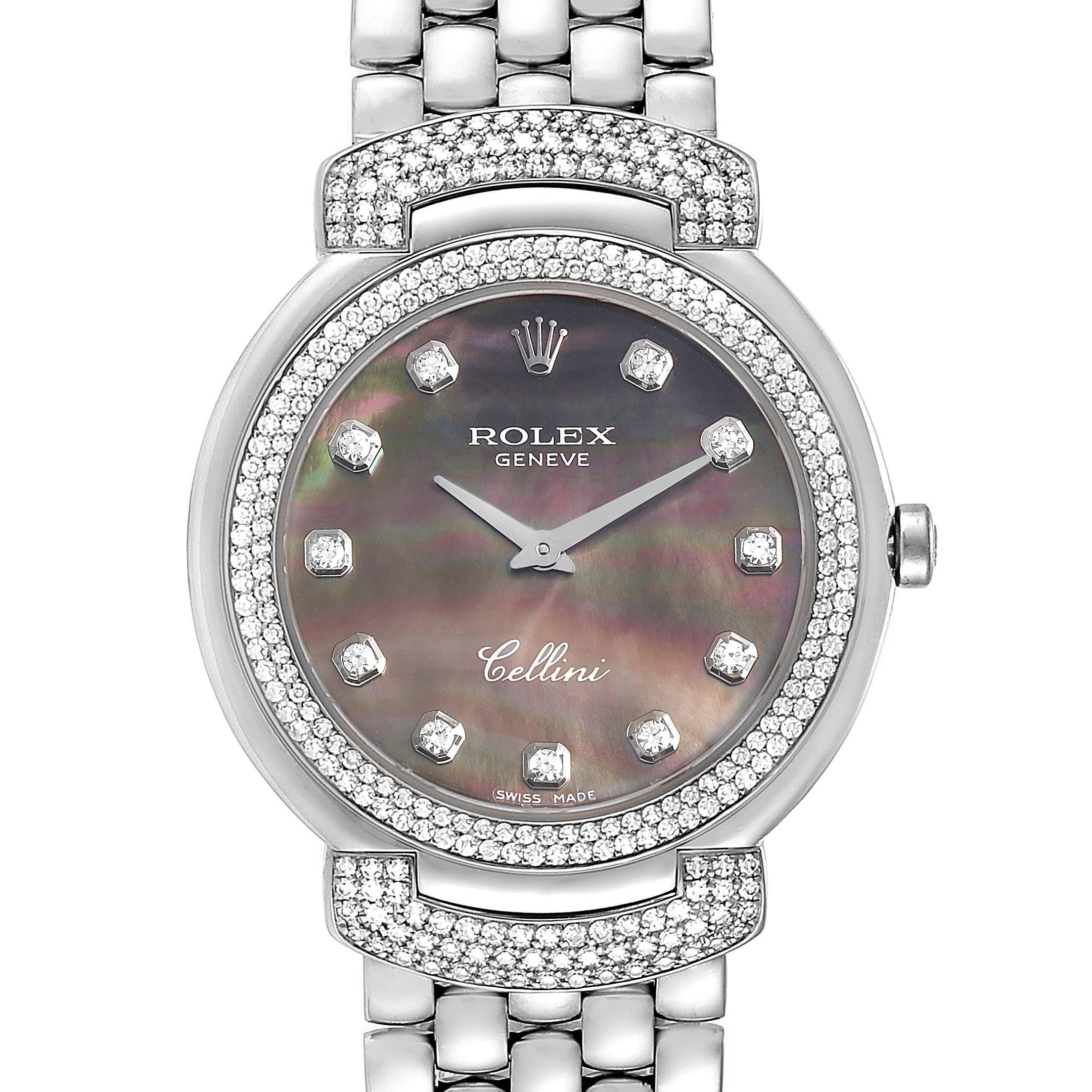 Photo of Rolex Cellini Cellissima 33mm MOP White Gold Diamond Ladies Watch 6683