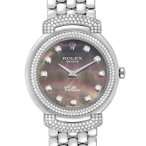 Photo of Rolex Cellini Cellissima 33mm MOP White Gold Diamond Ladies Watch 6683