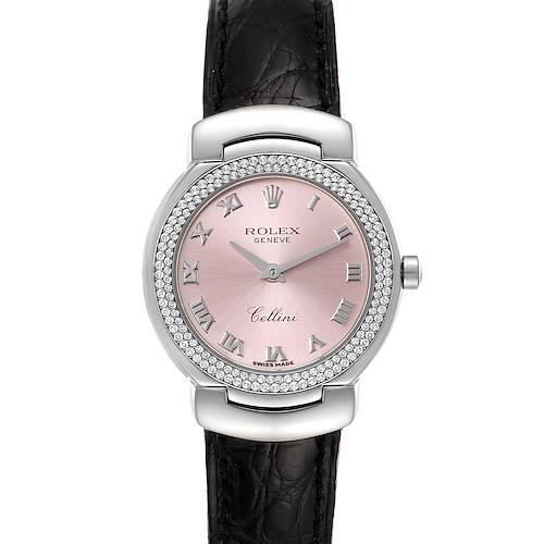 Photo of Rolex Cellini Cellissima White Gold Diamond Rose Dial Ladies Watch 6671