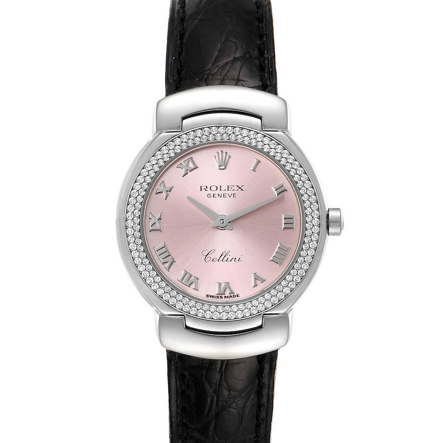 Rolex Cellini Cellissima White Gold Diamond Rose Dial Ladies Watch 6671 SwissWatchExpo