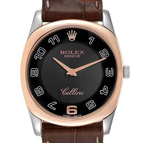 Photo of Rolex Cellini Danaos White and Rose Gold Brown Strap Mens Watch 4233