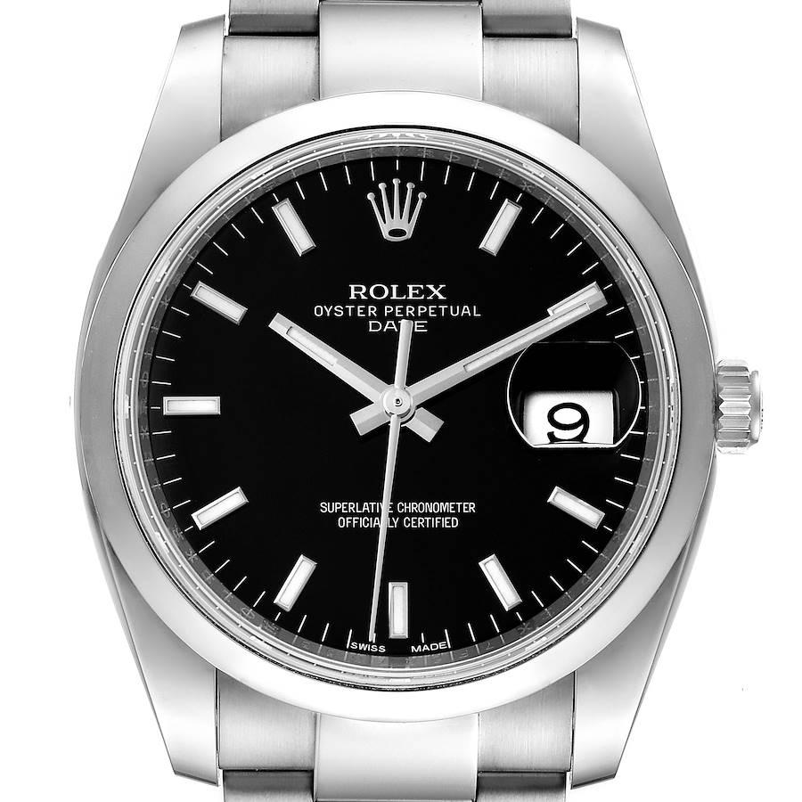 Rolex Date Black Dial Oyster Bracelet Steel Mens Watch 115200 Box Card SwissWatchExpo