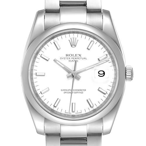 Photo of Rolex Date White Dial Oyster Bracelet Steel Mens Watch 115200 Box Card