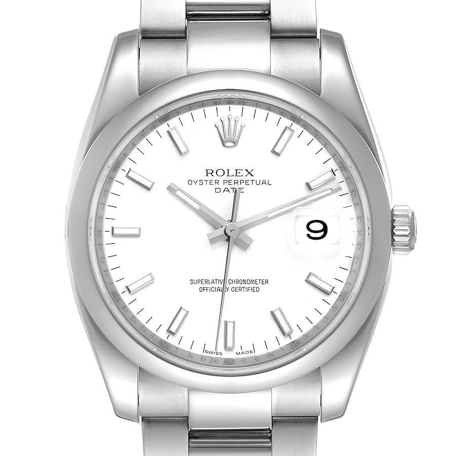 Rolex Date White Dial Oyster Bracelet Steel Mens Watch 115200 Box Card SwissWatchExpo