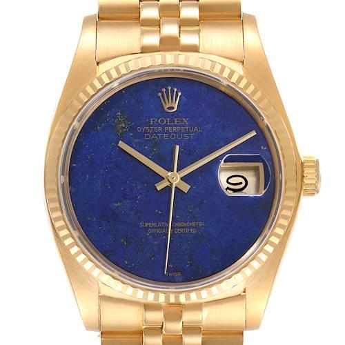 Photo of Rolex Datejust 18k Yellow Gold Lapis Lazuli Dial Vintage Mens Watch 16018