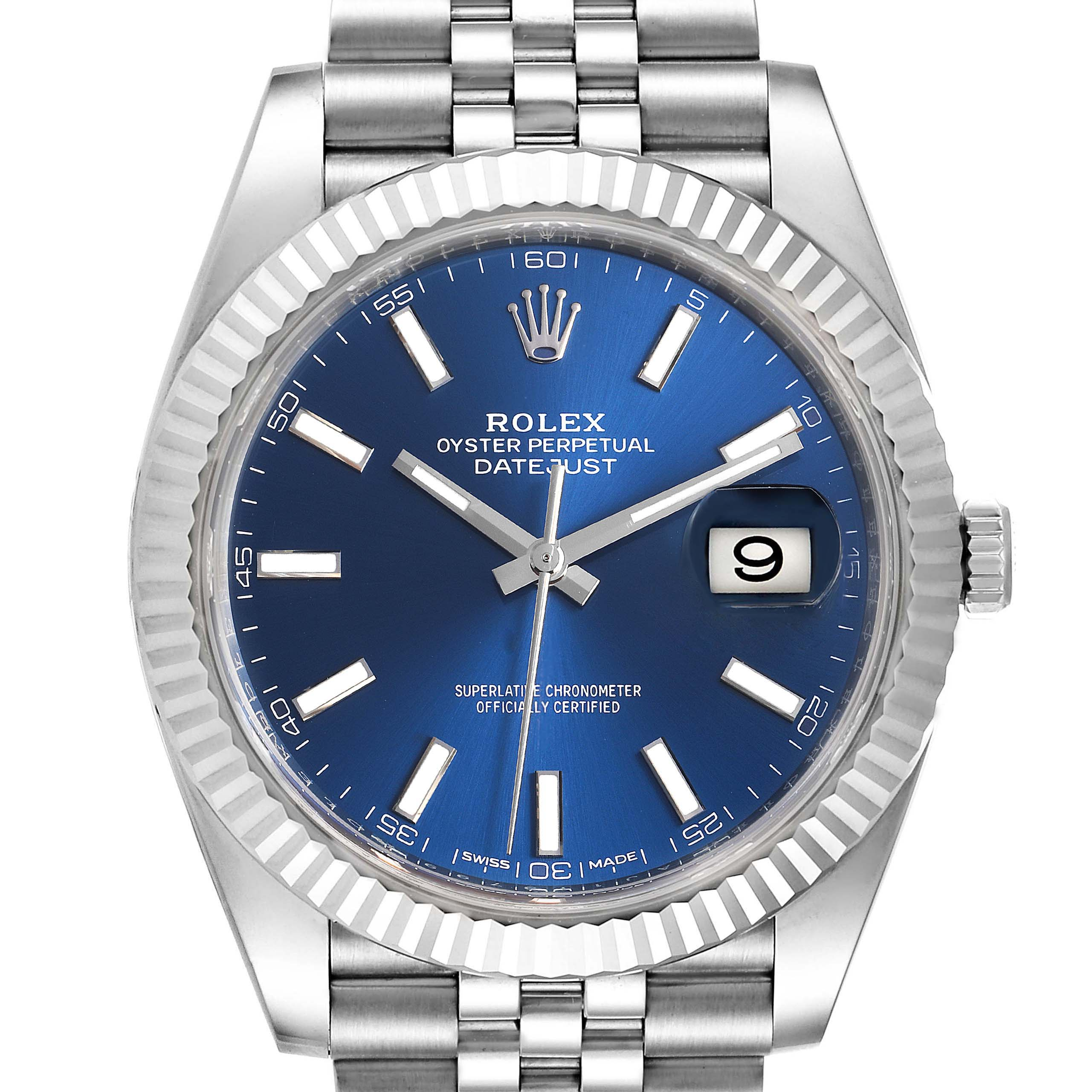 Photo of Rolex Datejust 41 Steel White Gold Blue Dial Steel Mens Watch 126334
