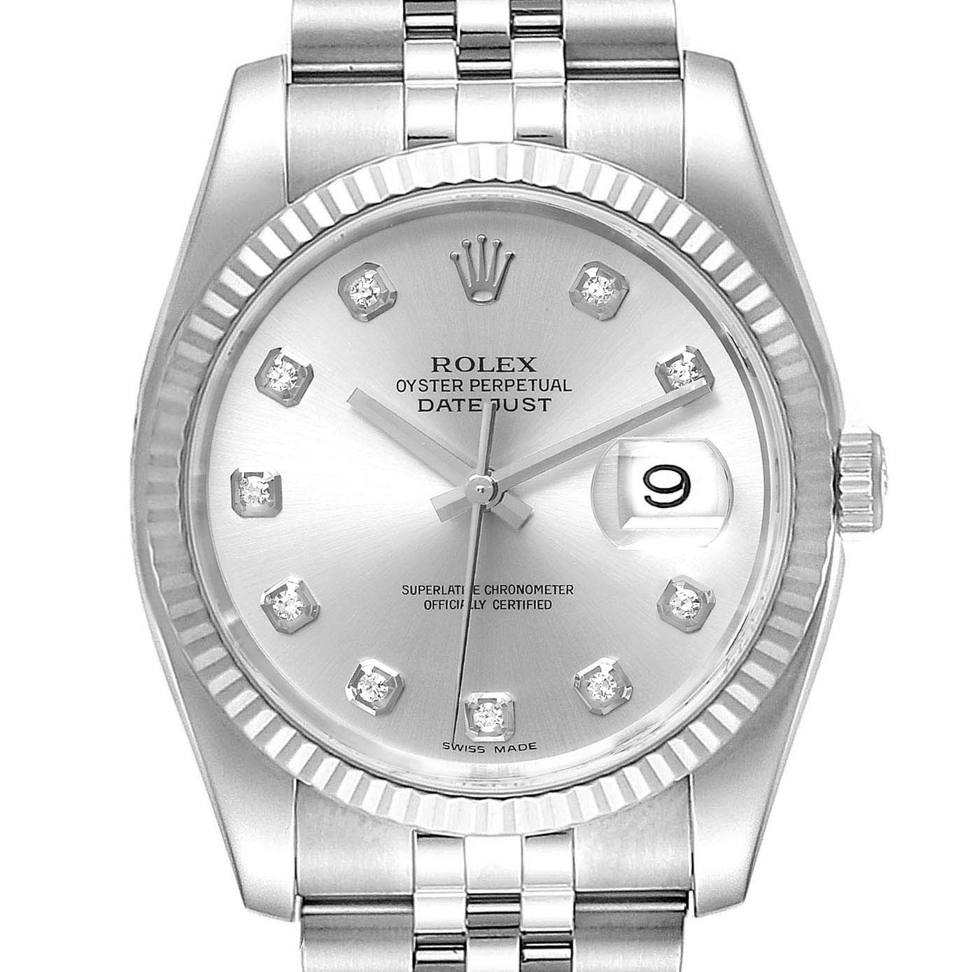 Rolex Datejust Steel White Gold Diamond Dial Mens Watch 116234 Box Papers SwissWatchExpo