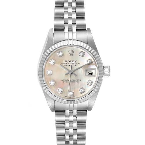 Photo of Rolex Datejust Steel White Gold MOP Diamond Ladies Watch 79174