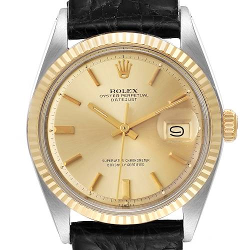 Photo of Rolex Datejust Steel Yellow Gold Champagne Dial Vintage Mens Watch 1601