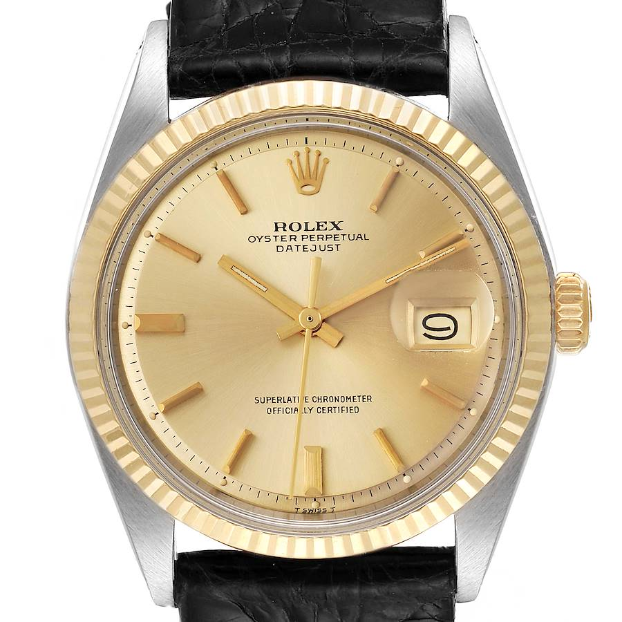 Rolex Datejust Steel Yellow Gold Champagne Dial Vintage Mens Watch 1601 SwissWatchExpo