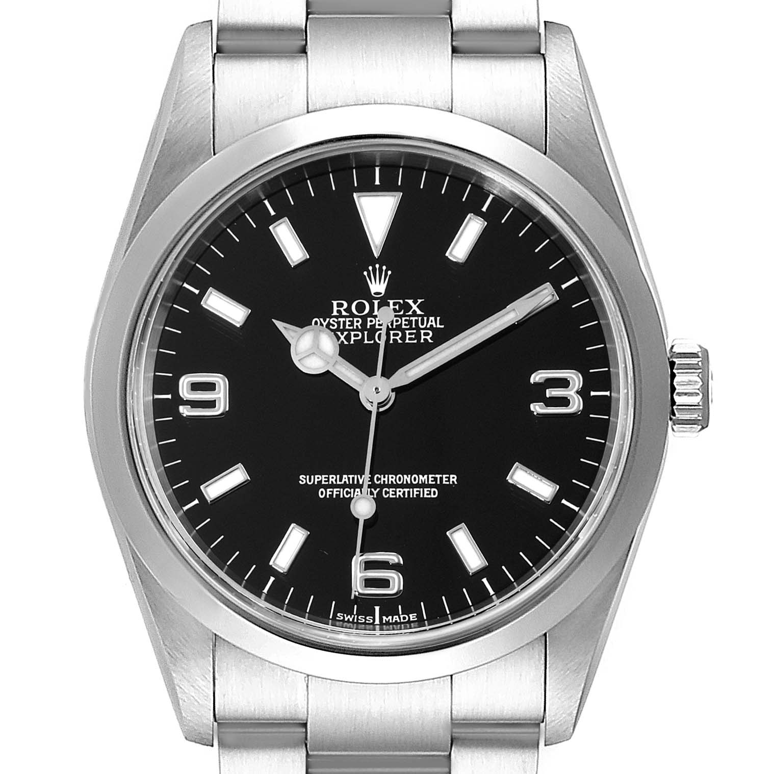 Rolex Explorer I Black Dial Stainless Steel Mens Watch 114270 Box SwissWatchExpo