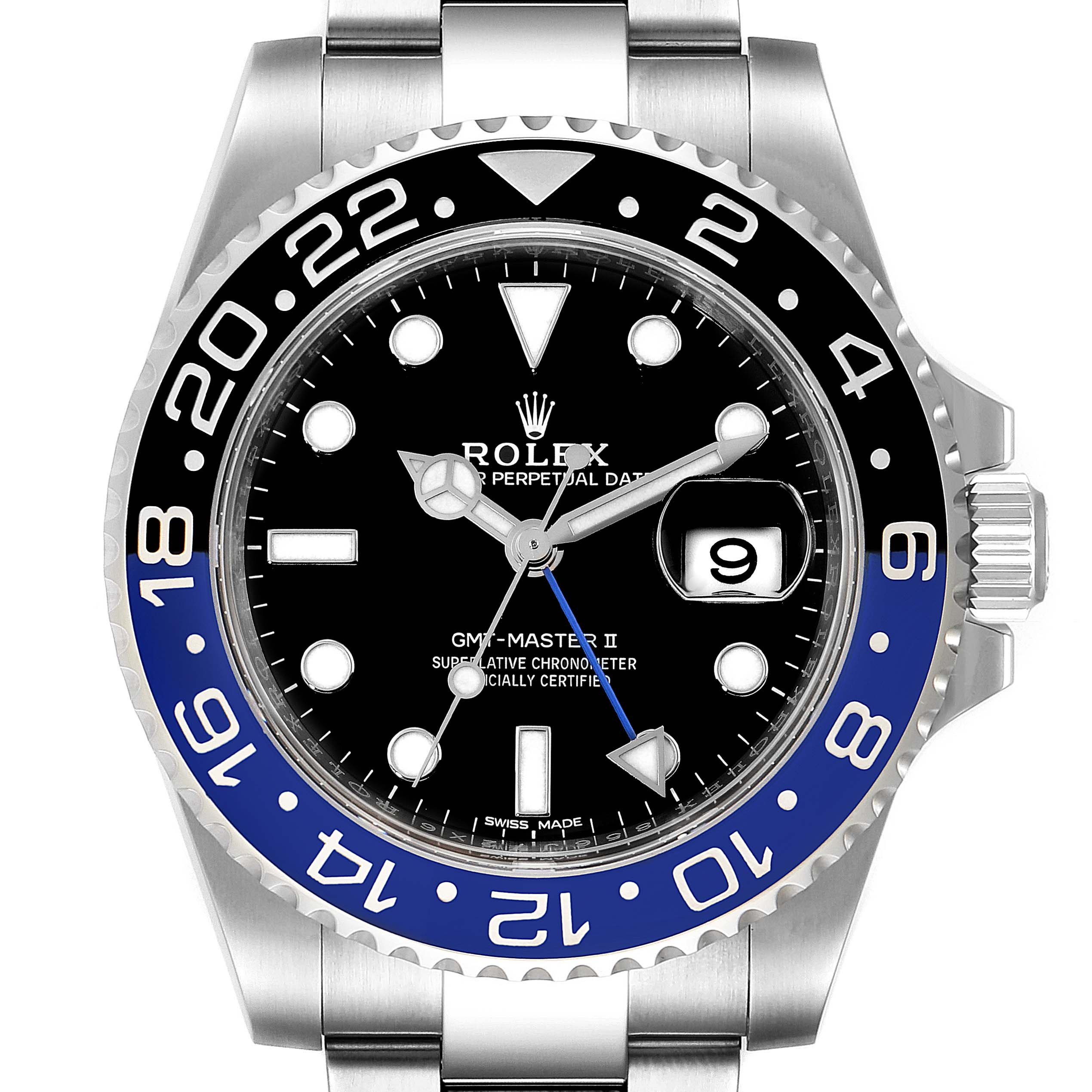 Photo of Rolex GMT Master II Black Blue Batman Steel Mens Watch 116710 Box Card