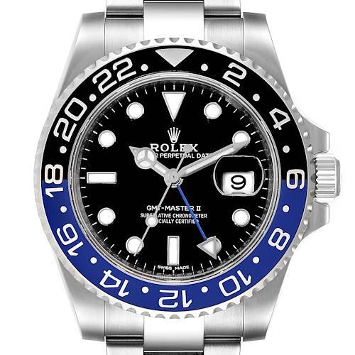 Photo of Rolex GMT Master II Black Blue Batman Steel Mens Watch 116710 Box Card