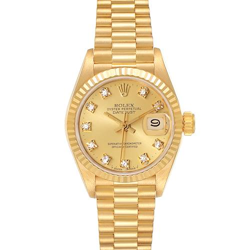 Photo of Rolex President Datejust Yellow Gold Diamond Dial Watch 69178 Box Papers