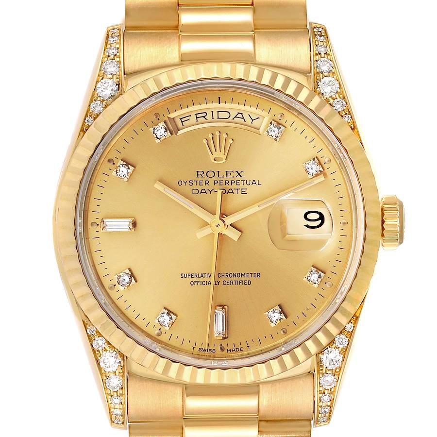 Rolex President Day Date Yellow Gold Diamond Lugs Watch 18338 Box Papers SwissWatchExpo