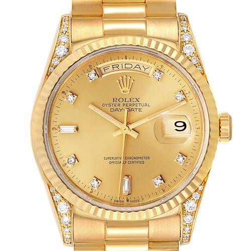Photo of Rolex President Day Date Yellow Gold Diamond Lugs Watch 118338 Box Papers